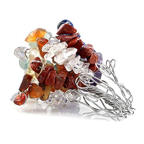 QGEM 7cm de Haut Arbre de Chakra Pierre Gemme Précieuse Naturelle Feng Shui Energie de Guérison Reiki Healing pr Déco