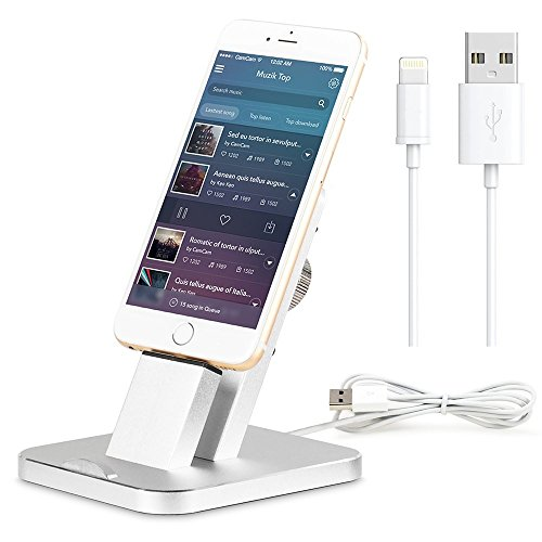 iPhone 7 Ladestation.(Incl MFI Lightning Kabel).ziku Aluminium iPhone Ständer Dock Station Cradle Halter Halterung Ladekabel Dockingstation für iPad& iPhone 7/plus/6/se/5/5s (Silber)