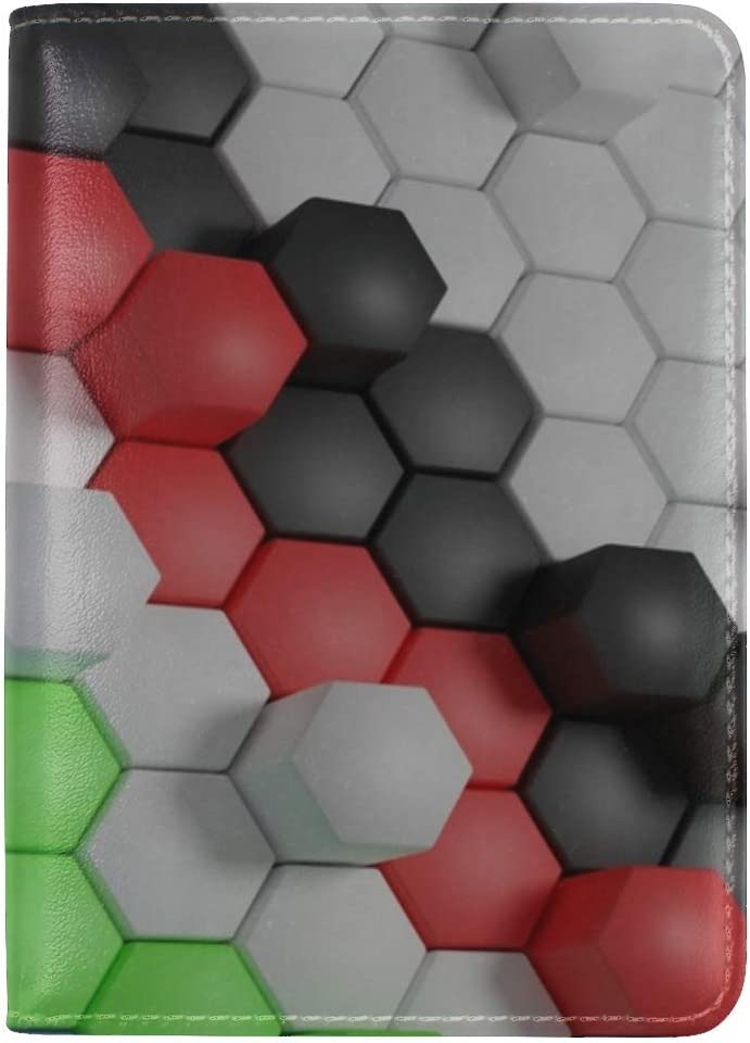JiaoL Hexagon Shaped Surface Leather Passport Holder Cover Case Travel One Pocket