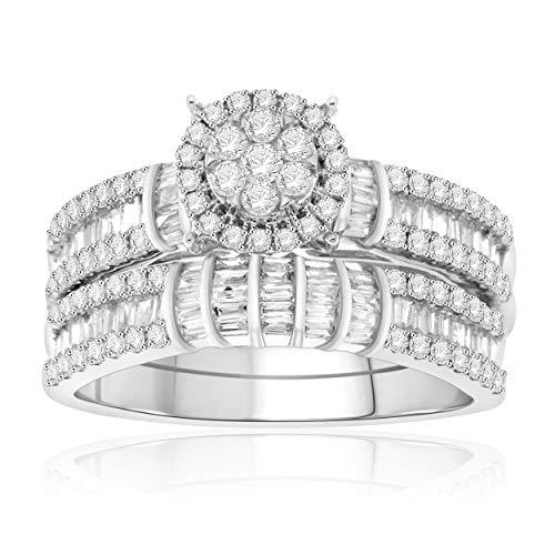 NATALIA DRAKE Certified 10K White Gold 1.00Cttw Diamond Engagement Bridal Set Ring (SZ 7) ()