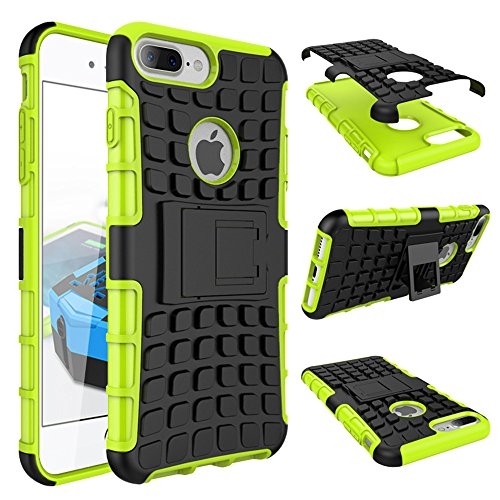 For iPhone 8 Plus Case 7 Plus Armor Heavy Duty Hybrid Shockproof Hard iPhone 7Plus 8Plus Shell (Green)