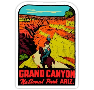 Vintage Travel Decal - Grand Canyon National Park Arizona Vintage Travel Decal 2 - Sticker Graphic - Auto, Wall, Laptop, Cell, Truck Sticker for Windows, Cars, Trucks