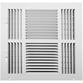 Accord ABSWWH41212 Sidewall/Ceiling Register with 4-Way Design, 12-Inch x 12-Inch(Duct Opening Measurements), White