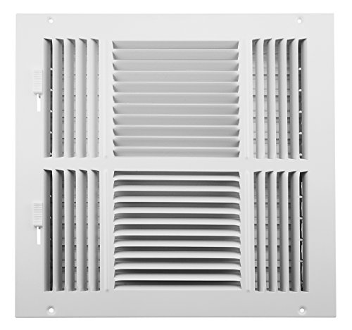Accord ABSWWH41212 Sidewall/Ceiling Register with 4-Way Design, 12-Inch x 12-Inch(Duct Opening Measurements), White (12x12 Vent Cover)