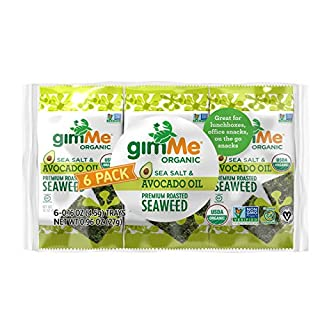 gimMe Organic Roasted Seaweed - Sea Salt & Avocado Oil - 48 Count - Keto, Vegan, Gluten Free - Great Source of Iodine and Omega 3's - Healthy On-The-Go Snack for Kids & Adults