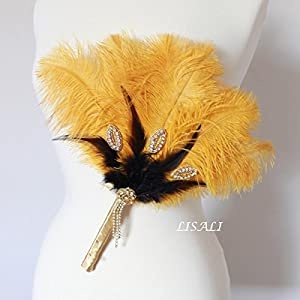 """LISALI 11"""" Gold Black Feather Bouquet, Bridesmaid Feather Fan,Peacock Boutonniere,20s Great Gatsby Wedding Bouquet 31"""