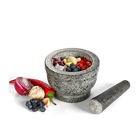 Flexzion Granite Mortar and Pestle Set - Solid Granite Stone Grinder Bowl Holder 5.5 Inch For Guacamole, Herbs, Spices, Garlic, Kitchen, Cooking, Medicine 3 Solid granite construction; Polished exterior with an unpolished interior for improved grinding The toughness of granite is due to the interlocking crystal structure as it cools from melt, making it amongst the hardest of rocks. This makes our pestle and mortar very durable and makes it the best way to grind both hard and soft ingredients The pestle and mortar allows you to grind the freshest of herbs to create the most fragrant of pestos; and the toughest of seeds and spices to create the most aromatic of curry pastes