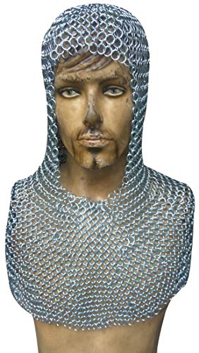 - Zinc Plated Butted Chainmail Coif Medieval Costume Hood ABS