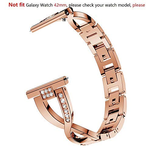 Compatible Samsung Galaxy Watch 46mm Band, 22mm Metal Band Watch Bracelet Replacement Band for Samsung Gear S3 Frontier / S3 Classic Band Watch Strap Accessories (Rose Gold, Not Fit Galaxy Watch 42mm)