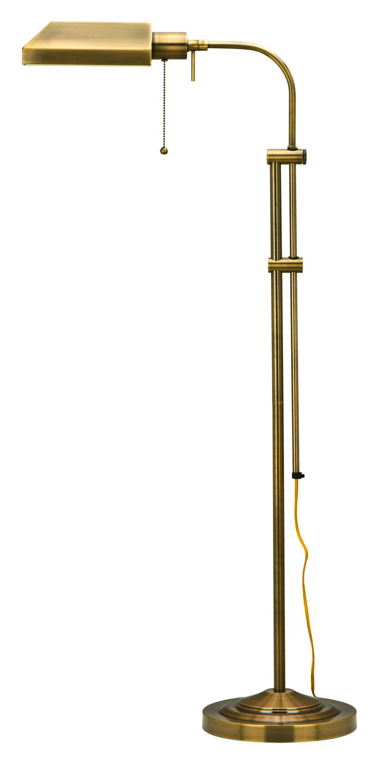 Cal Lighting BO-117FL-AB Floor Lamp Pharmacy Collection with Adjust Pole , 62 inches, Antique Brass Finish