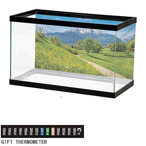 Aquarium Background,Mountain,Spring Scenery in Alps with Floral Grass and Snowy Mountain Tops in Rural Village,Multicolor Fish Tank Backdrop 36