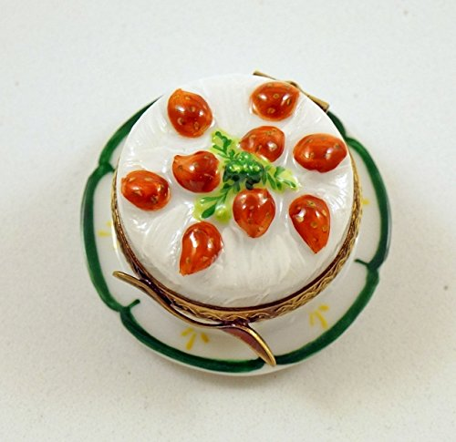 Authentic French Porcelain Hand Painted Limoges box Yummy Yummy Strawberry Cake on Plate -