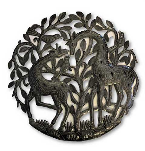 "Giraffes Metal Sculpture, Haiti Metal Wall Art 23"" x 22.5"""