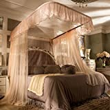 SIOFSVDFDFASDD Square netting curtains,U-track nets,Princess wind netting curtains Three-door encryption double 1.5m1.8m bed home mosquito net for single-G King