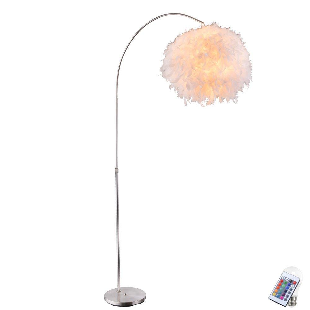 Feder Steh Leuchte verstellbar weiß verstellbar Leuchte Ess Zimmer Lampe rund dimmbar im Set inkl RGB LED Leuchtmittel 76f64a