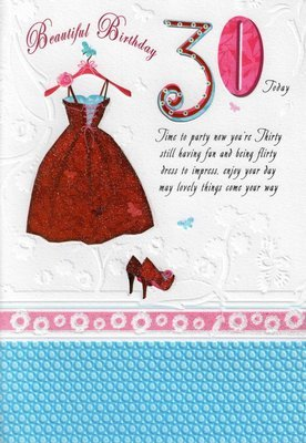 FEMALE 30TH 30 BIRTHDAY CARDS POETRY IN MOTION GLITTER GREETING CARD NICE VERSE