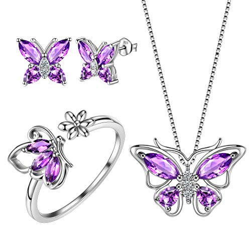 Aurora Tears Butterfly Jewelry Purple Sets Women 925 Sterling Silver Butterflies Necklace/Earrings/Ring Sets Girls Animal Jewelry DS0039P ()