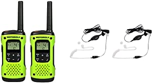 Motorola Solutions T600 Talkabout Radio, 2 Pack Bundle with Motorola 1518 Surveillance Headset with PTT Mic, Black, White