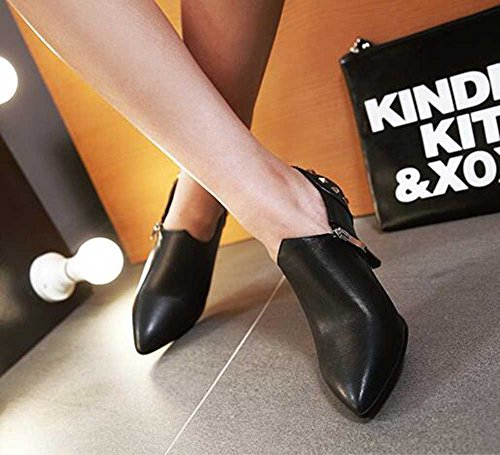 CHFSO Womens Trendy Stiletto Rivet Solid Pointed Toe Zipper High Heel Ankle Boots Black vC36Wm3B