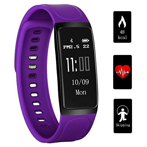 Viotte Fitness Tracker, 0.96in OLED Heart Rate Monitor Smart Wristband Swimming Activity Tracker Smart Bracelet with Step Tracker/Calorie Counter/Sleep Monitor for iPhone iOS and Android Phone,Purple