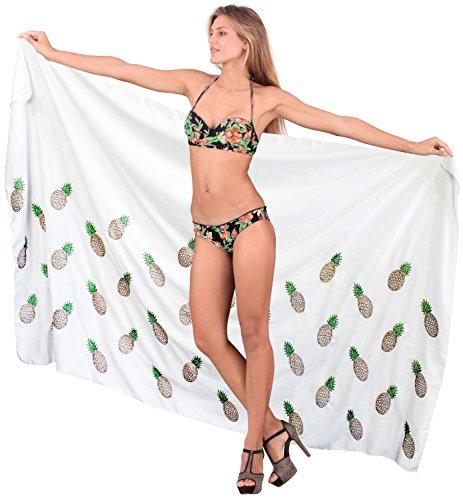 La Leela bordado más rayón tamaño cubren a las mujeres del traje de baño del bikini falda sarong Blanco Tranquilo