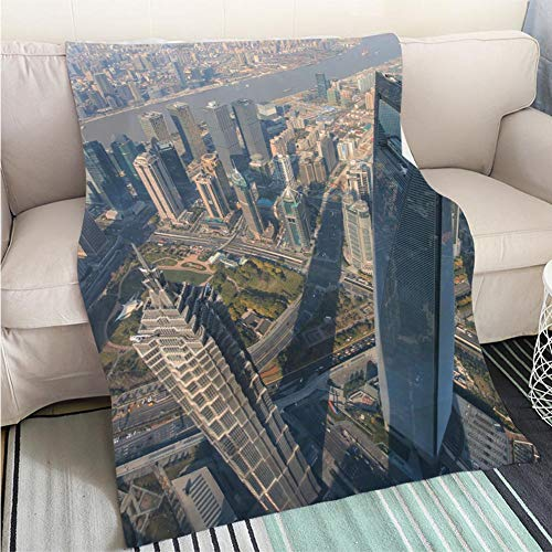 BEICICI Comforter Multicolor Bed or Couch Jin Mao Tower and Shanghai World Financial Center viewed from The Observation Deck Shanghai Tower Fashion Ultra Cozy Flannel Blanket