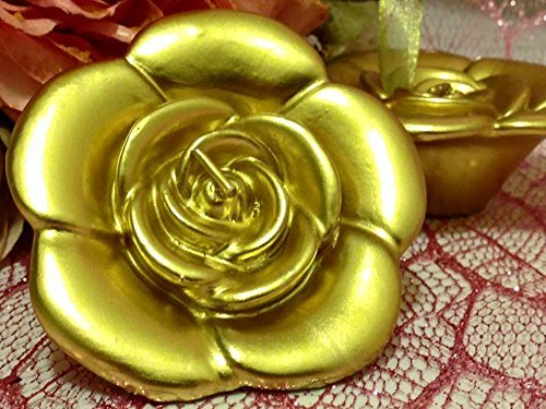 6 Gold Rose Floating Candles Wedding Sweet 16 Party Supply by onlinepartycenter