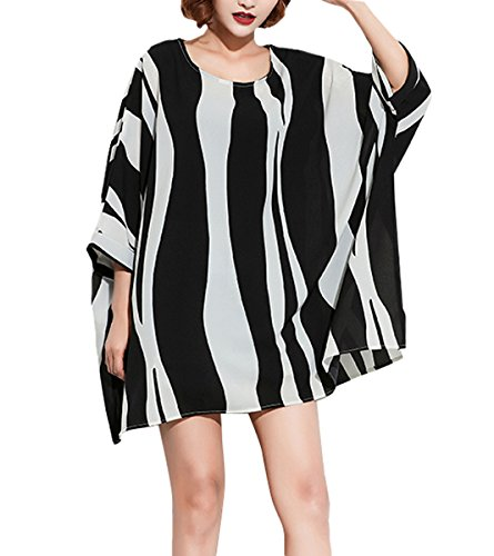 ELLAZHU Women Fashion Summer Loose Batwing Middle Sleeves Strips Print T Shirt ()