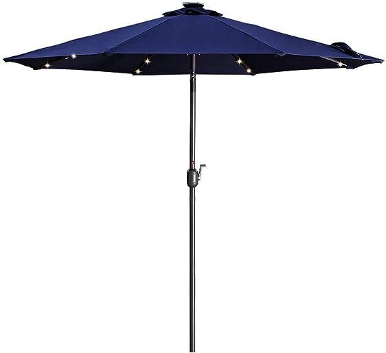 LED Lights Patio Umbrella 9FT Backyard Umbrella