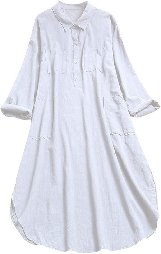 Allegorly - Camisa de Manga Larga para Mujer con Manga Larga y Manga Larga con Cuello en V Blanco XXL: Amazon.es: Ropa y accesorios