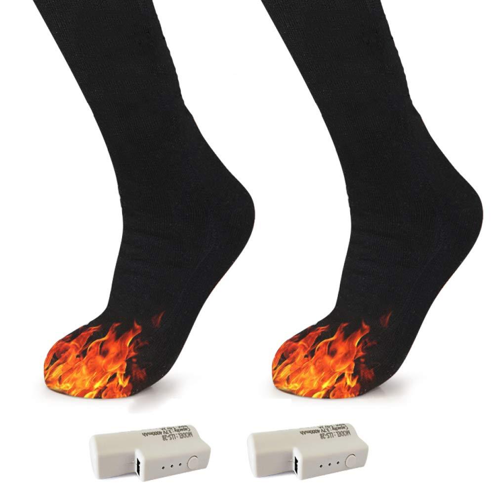 HaveBattery  DZX Chaussettes Chauffantes électriques Chaussettes Thermiques pour Les Pieds - pour Les Sports De Plein Air en Hiver,NoBattery