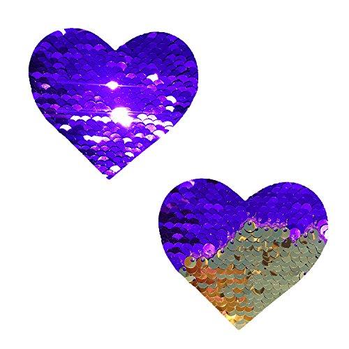 Go Lakers Purple Gold Flip Sequin I Heart U Nipztix Pasties Nipple Covers -