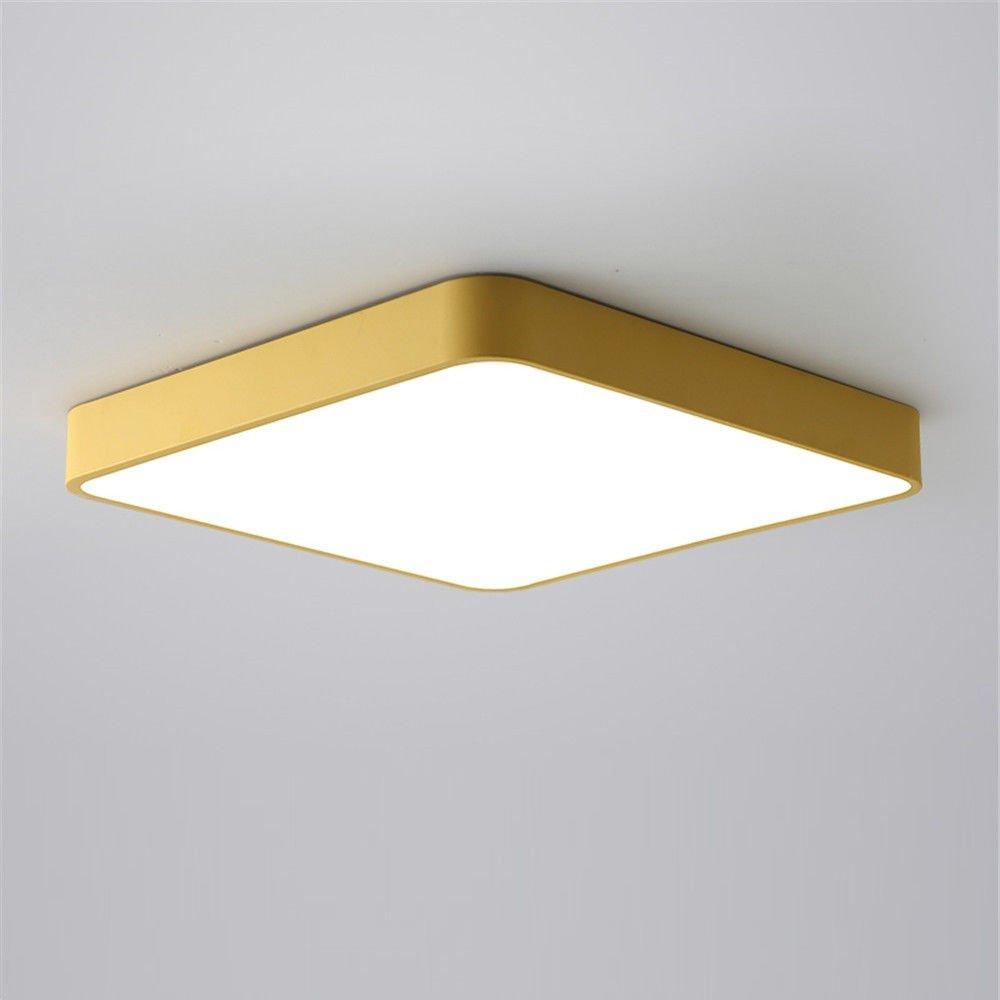 MEIHOME Deckenleuchten LED Square Modernes gelbes drei Farbdimmungstechnik 40  40  5 CM Deckenlampe für Schlafzimmer Wohnzimmer Küche Badezimmer