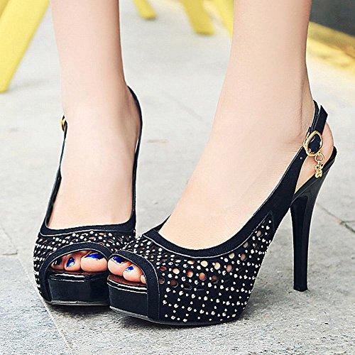 Mee Shoes Damen Slingack high heels Peep toe Sandalen Schwarz