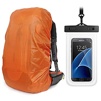 UltraLight Backpack Rain Cover With PU Stored Bag&Cellphone Waterproof Case,3 Color Available,15-90L For Camping,Hiking,Cycling,Waterproof case for iPhone 6S 6, S7 Edge,S7,Up to 6 inches