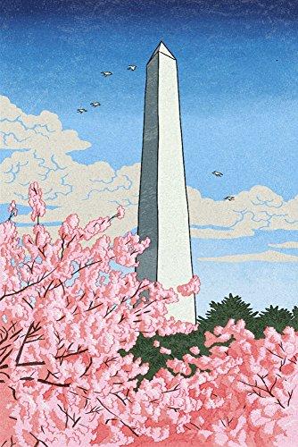 Washington, DC - Washington Monument - Cherry Blossoms (36x54 Giclee Gallery Print, Wall Decor Travel Poster)