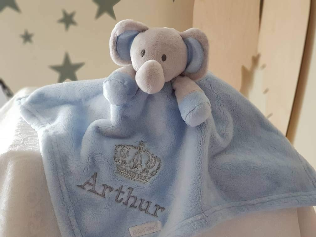Personalised Blue Elephant Comforter Blanket / Soother Blanket / Royal Crown Blanket / New Baby Gift / Personalised Comforter