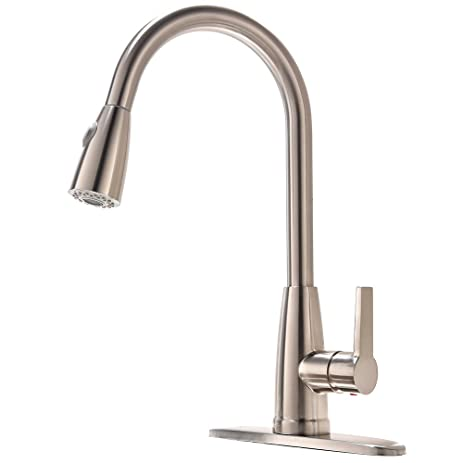 Amazing Friho Modern Brushed Nickel High Arc Stainless Steel Pull Down Sprayer  Single Handle Kitchen Sink Faucets