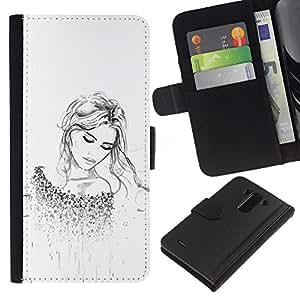For LG G3 Case , Blonde Fashion Tattoo White Clean - la tarjeta de Crédito Slots PU Funda de cuero Monedero caso cubierta de piel