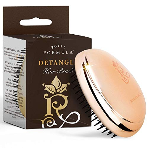 Hair Child Wig Sized - Mini Travel Size - Detangle Hair Brush for Women, Toddlers & Kids Best for Wet & Dry Hair, Portable & Pocket Sized Hair Brush Detangling Hair Comb Massages Hair Shafts & Stimulates Hair Growth. (Gold)