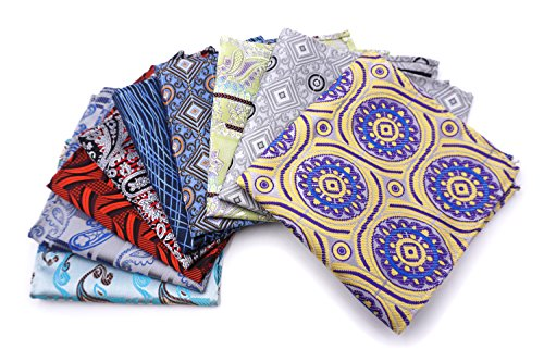 Price comparison product image AVANTMEN 10 PCS Men's Pocket Squares Assorted Woven Handkerchief Hanky with Gift Box (10 x 10,  S6)