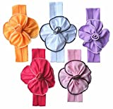 Qandsweet Baby Girl's Headbands Cotton Hair Bow Flower (5 Pack 4″ Cotton Flowers)