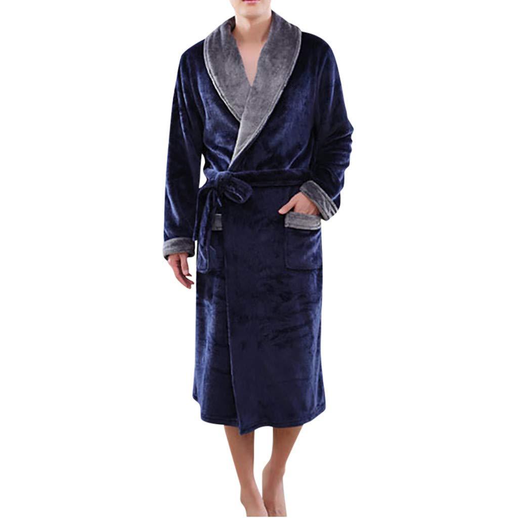 Hot Flannel Long Section Thickening Male Robe Bathrobe Bathrobe Dream/_Mimi Mens Cotton Pajamas Casual Night Pajamas