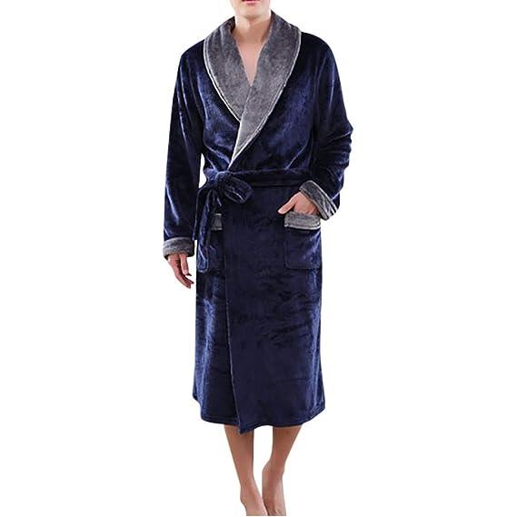 aaa6eecdafd5e Keepwin Pyjama Homme Polaire Capuche Robe de Chambre Peignoir Longue Hiver  Peluche Châle À La Maison Vêtements  Amazon.fr  Vêtements et accessoires