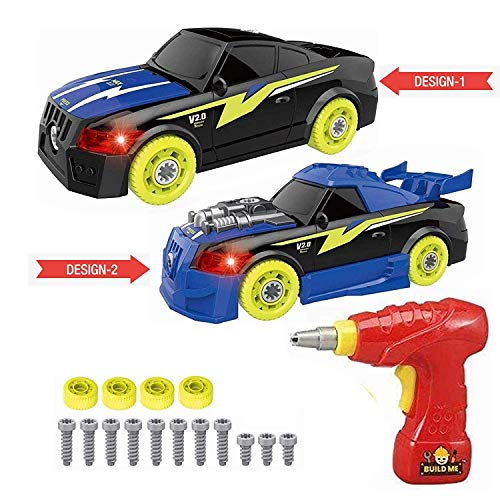 Take Apart Sports Car with Electric Drill and 26 Car Modification Pieces, Build Your Own Take A Part Toys with Lights and Sounds, Toy Vehicle Assembly Set for Ages 3 and Up