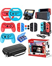 Accessories Kit for Nintendo Switch, 17 in 1 Essential Kit Including Carry Case Games Starter Wheel Grip Controller Charger TPU Cover Joy Con Covers Thumb Caps Game Card Slot Holder