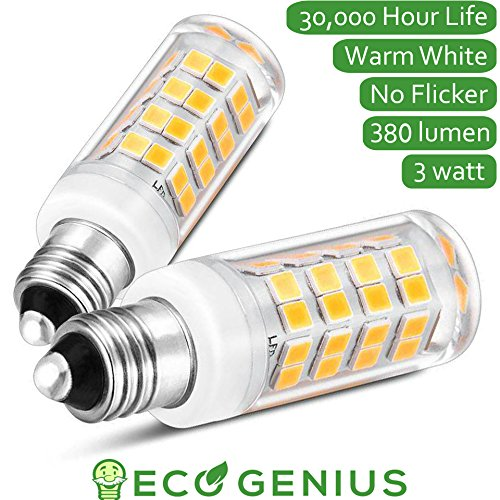 Eco-Genius E11 Base LED light bulb, 380lm, mini candelabra ultra energy efficient replacement for chandelier lamp ceiling fan ect (pack of 2) - E11 Base Westinghouse Light Bulb