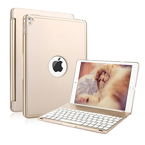 Backlit Keyboard Case for iPad Air 2, KVAGO 7 Colors Backlight Aluminum...
