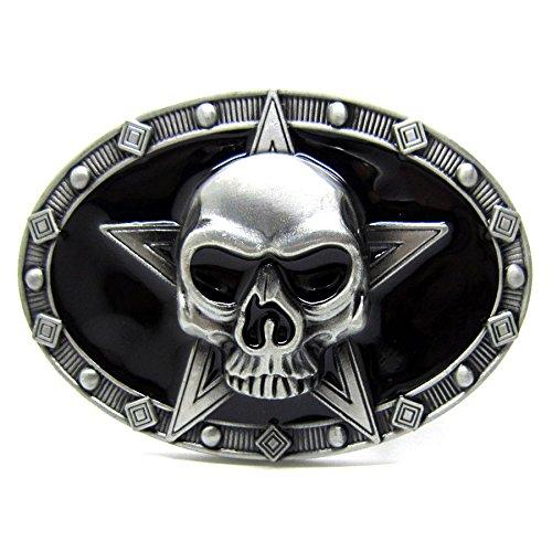 Vintage Punk Five-Pointed Star Skull Skeleton Belt Buckle Cowboy Gothic Biker (Five Buckle)