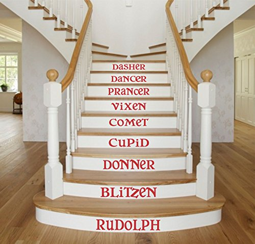 N.SunForest Reindeer Name Wall Decals Christmas Stair Holiday Reindeer Vinyl Sticker Staircase Decoration